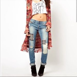 Free People Distressed Patched Jeans 24